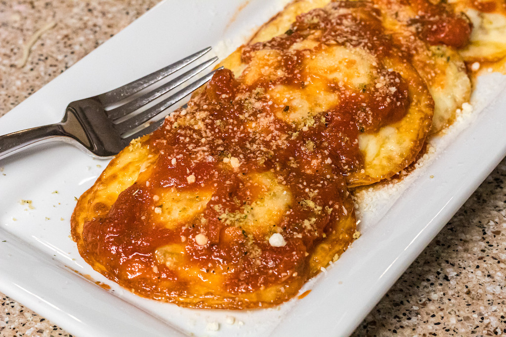 keto raviolis on plate with pasta sauce