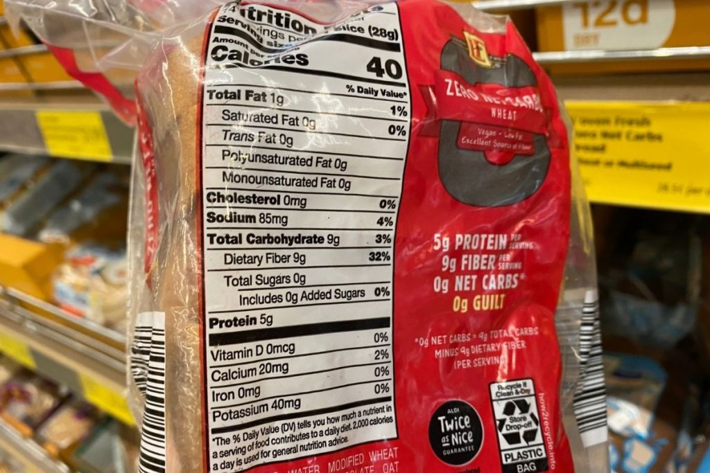 A loaf of bread with nutrition facts displayed on back