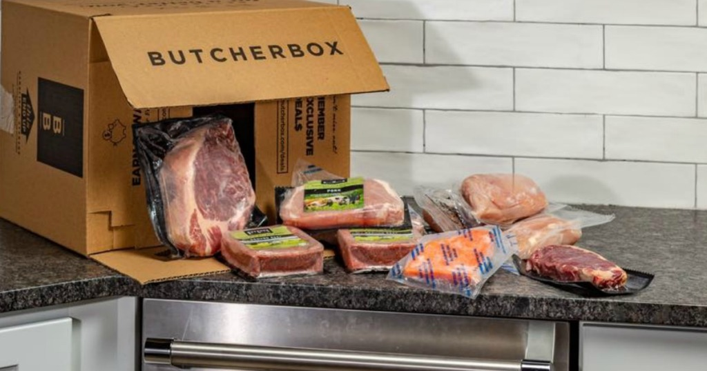 Butcher box with meat on counter