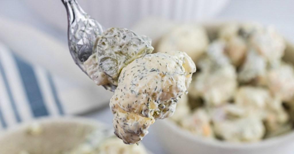 cauliflower pickle salad on fork