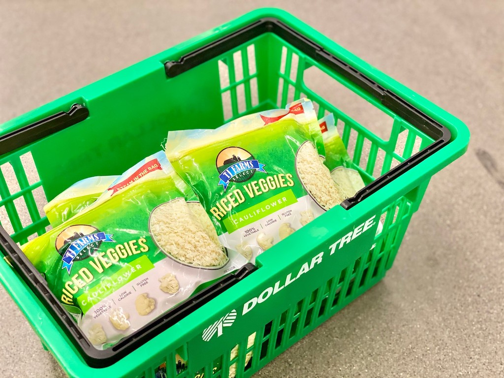 frozen riced cauliflower bags in shopping basket at Dollar Tree