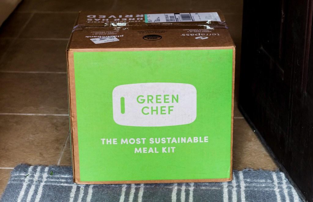 green chef box in doorway