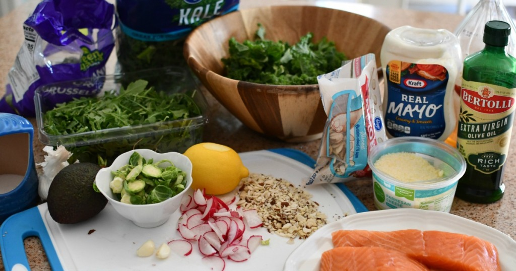 ingredients for almond crusted salmon salad