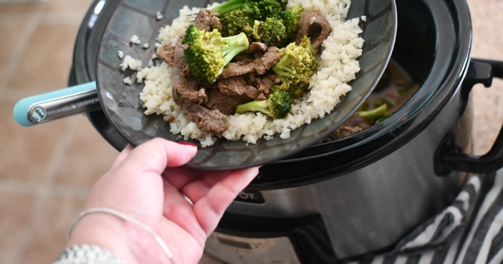 bowl of Crockpot beef and broccoli with cauliflower rice
