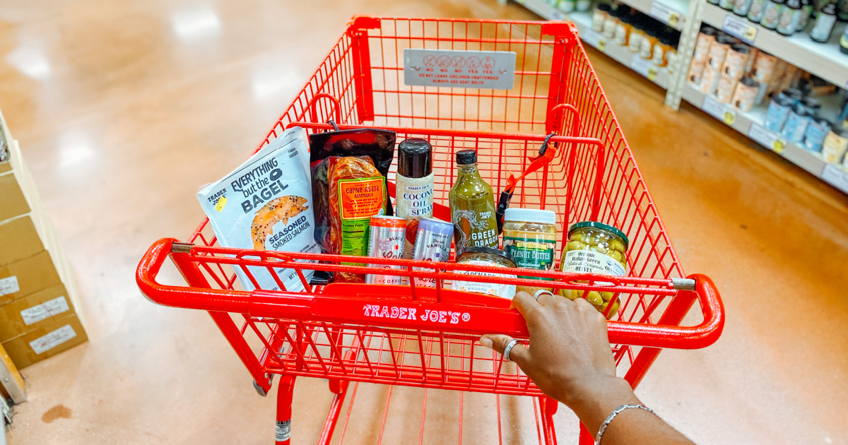 Trader Joe's grocery cart with keto items