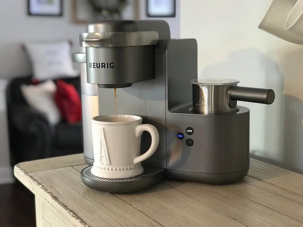 Keurig machine putting coffee in mug