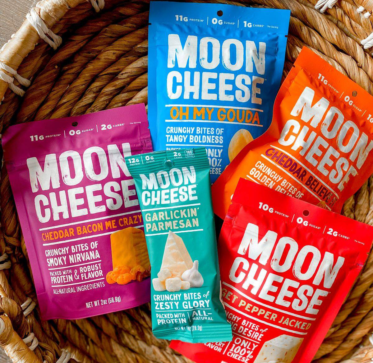 basket filled with bags of moon cheese