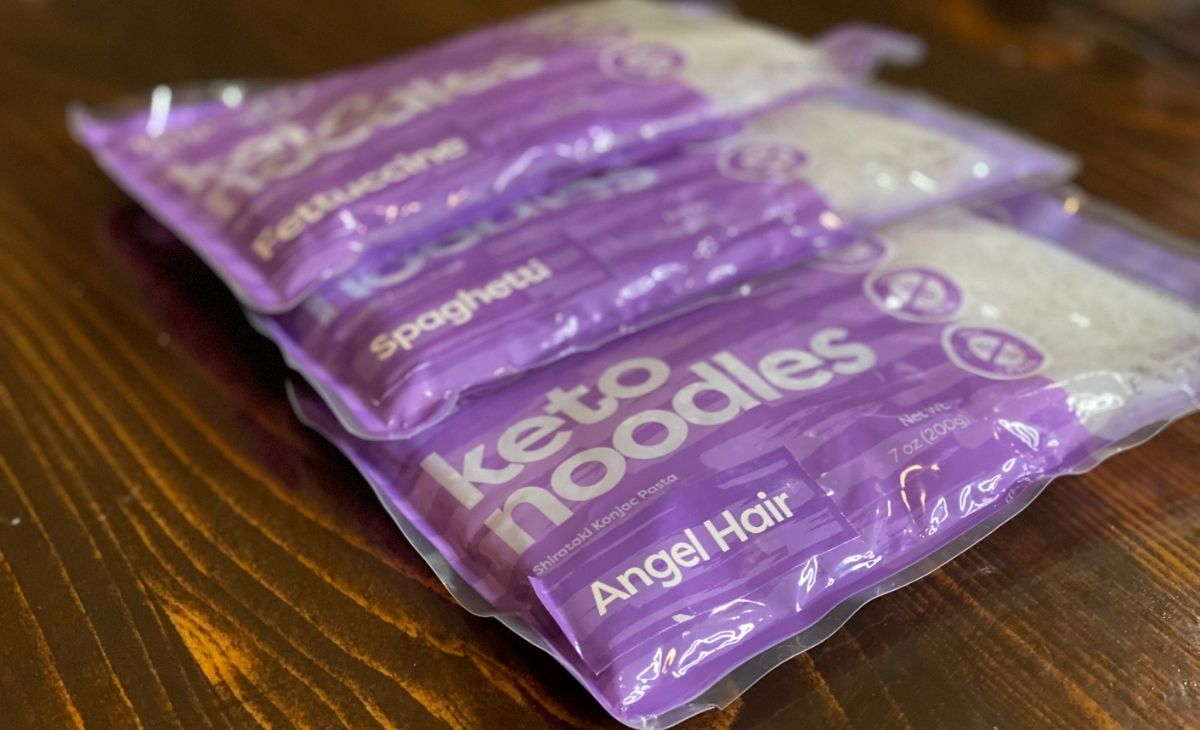 3 bags of keto noodles on a table