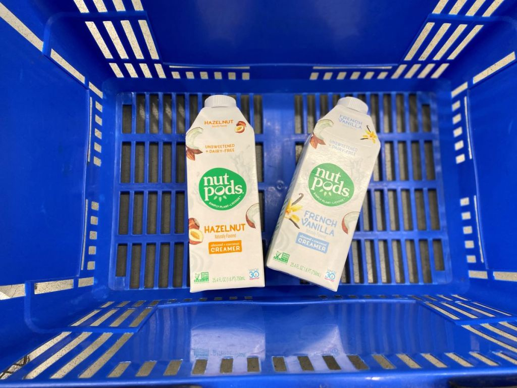 two Nutpods creamers in a Walmart basket