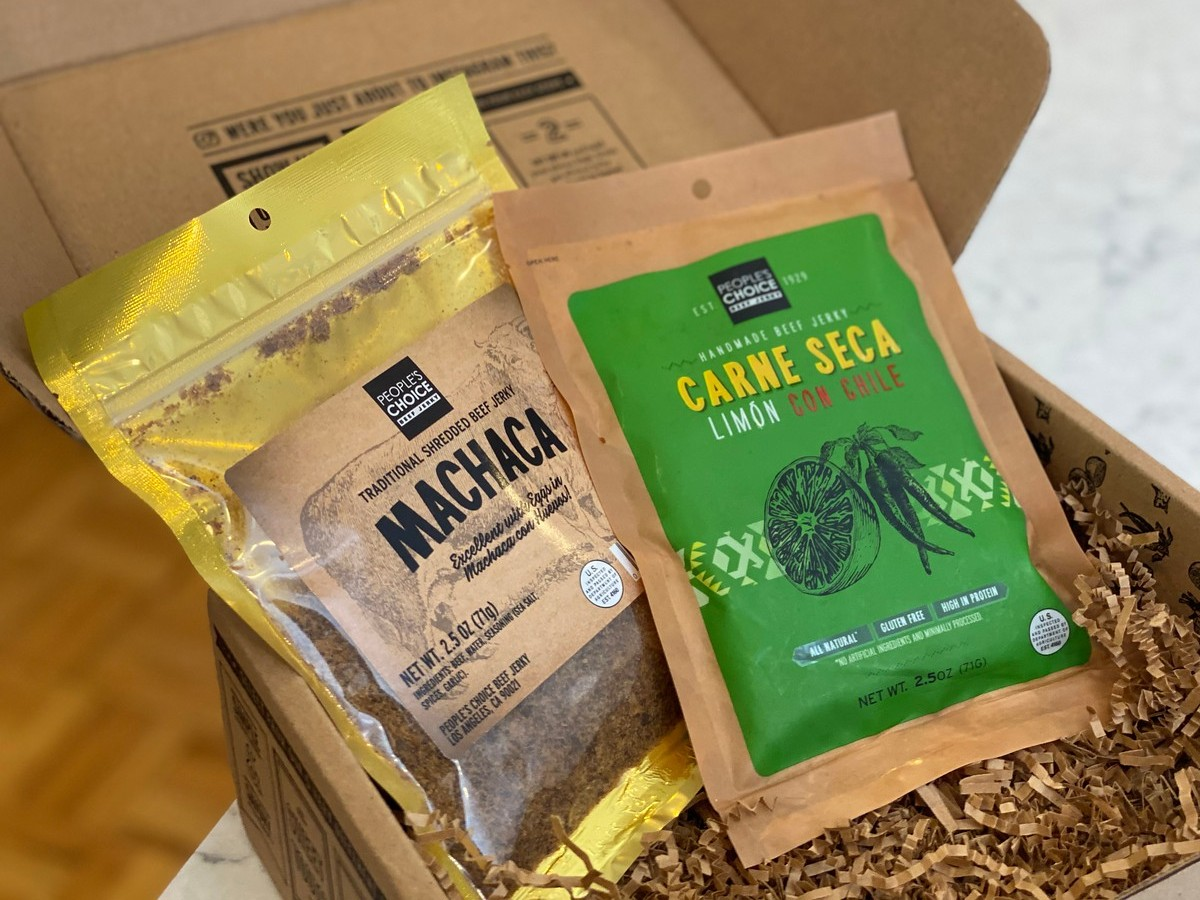 two bags of beef jerky in a box