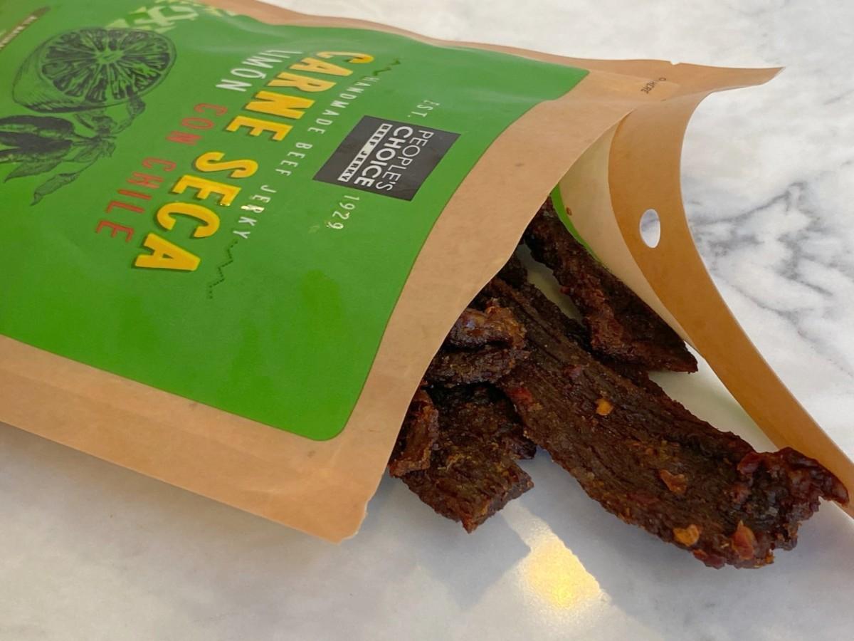 open package of beef jerky