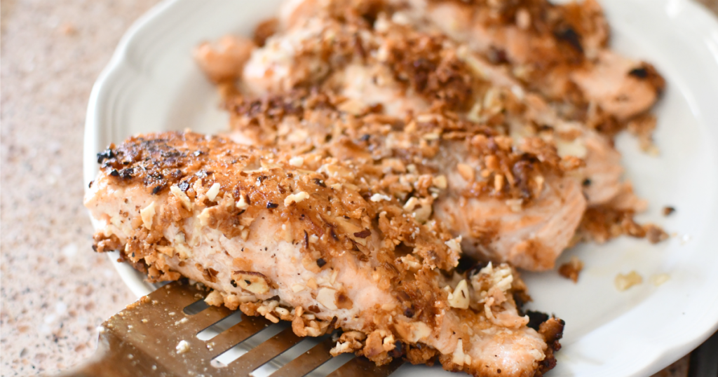 plate of almond crusted salmon