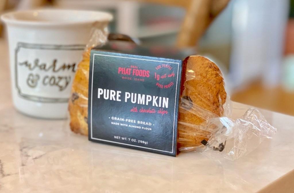 loaf of pumpkin phat foods bread for keto pumpkin giveaway