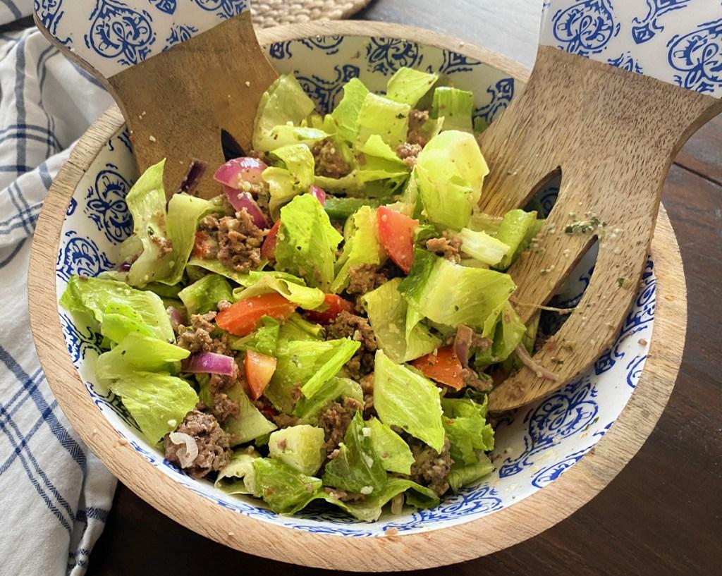 keto steak fajita salad in bowl