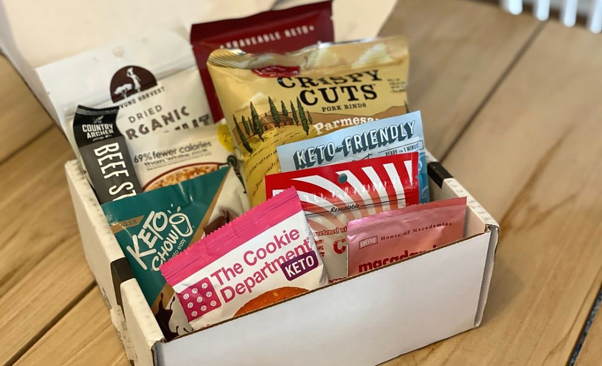 A box full of low-carb snacks on a table