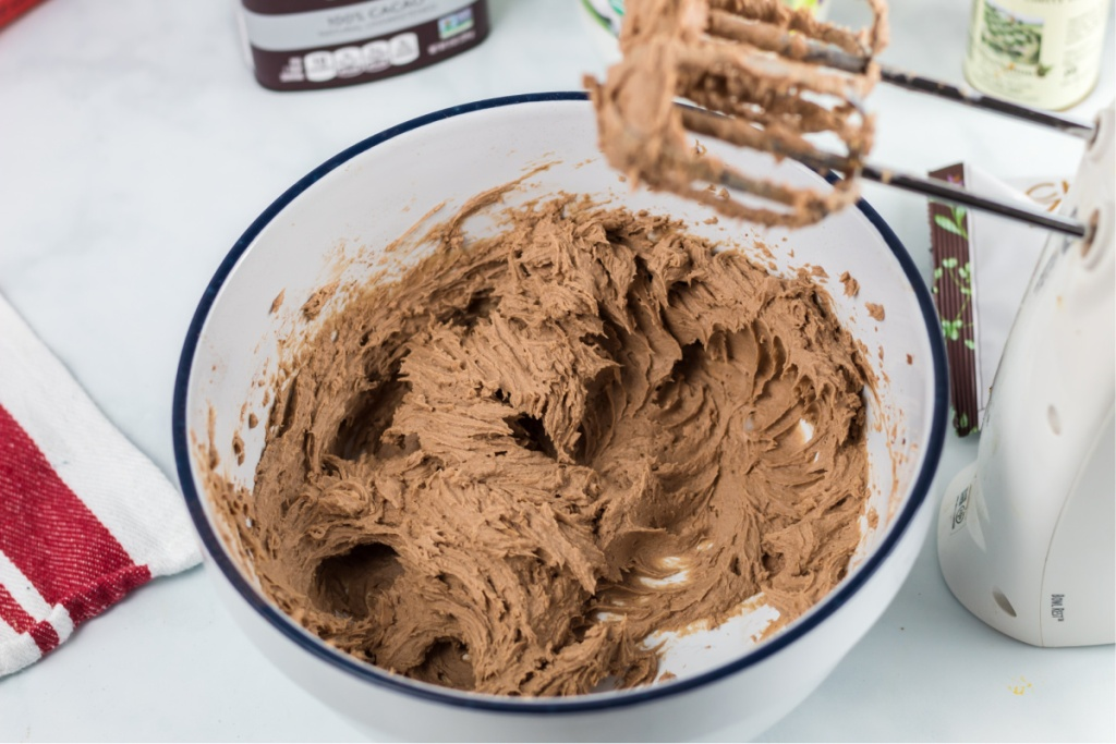 chocolate cherry fat bomb batter in mixing bowl