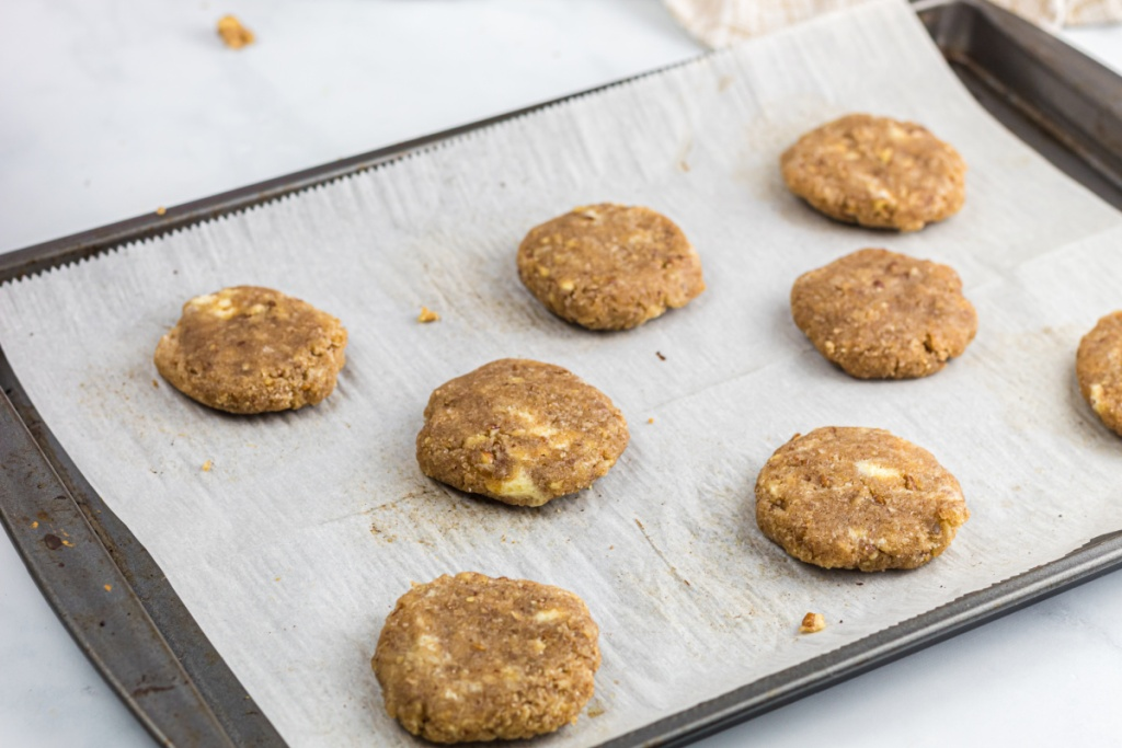 cookie disc on baking sheet