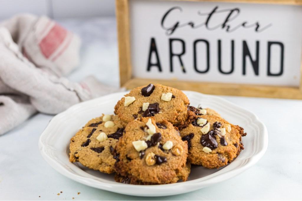 plate of keto monster cookies