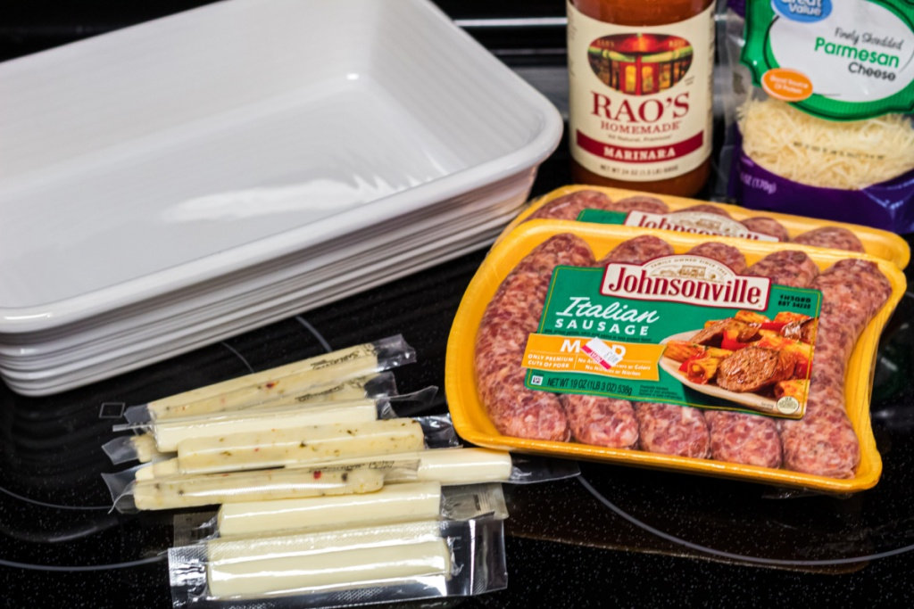ingredients for stuffed cheese sausage