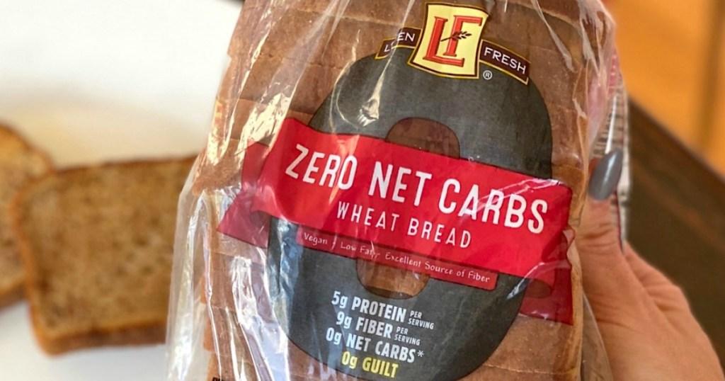 holding zero net carb ALDI keto bread