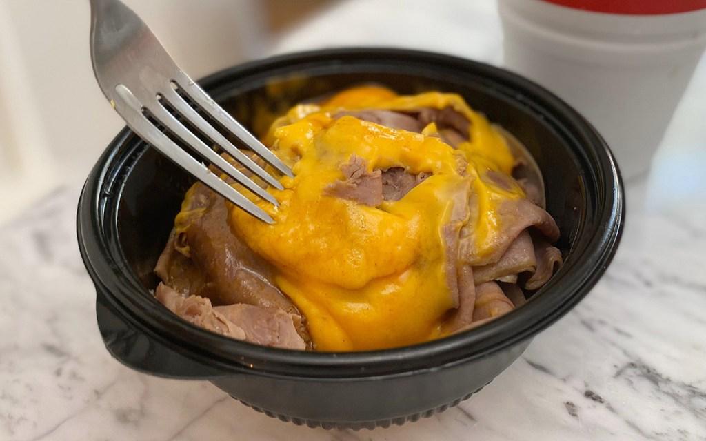arbys beef cheddar in bowl