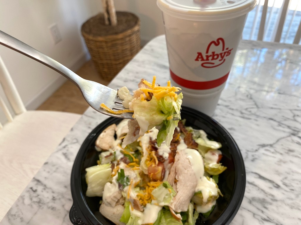 eating Arby's chicken salad