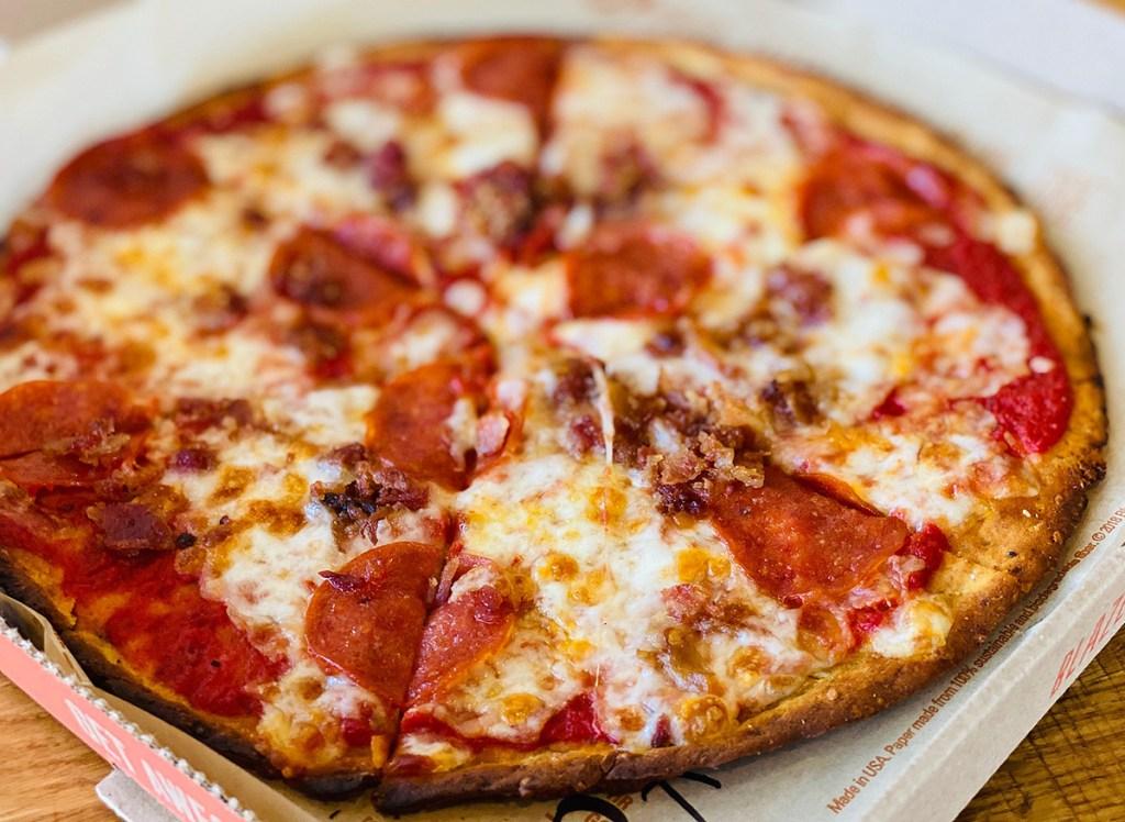 blaze pepperoni bacon keto pizza