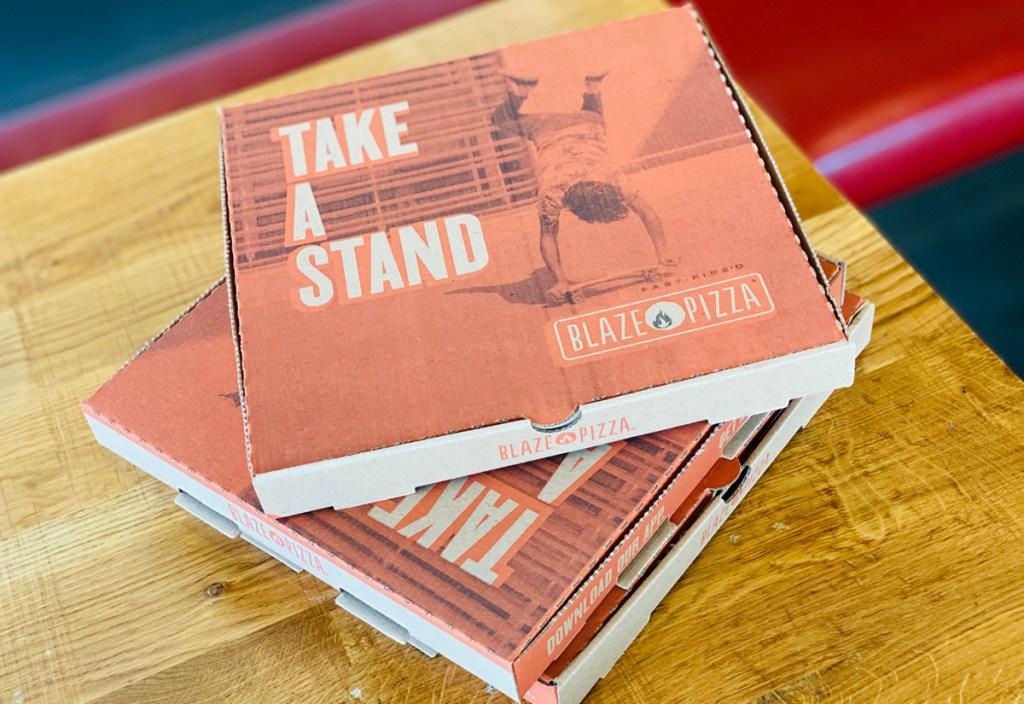 blaze pizza boxes