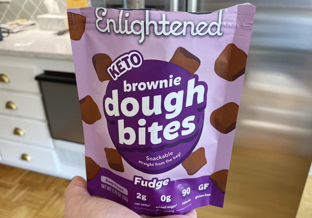 keto brownie dough bites in a bag