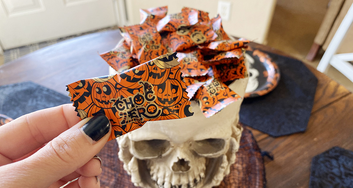 choc zero halloween pumpkin candy