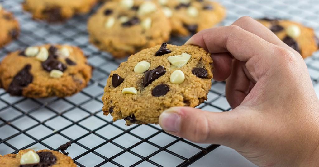 choc zero monster cookies in hand