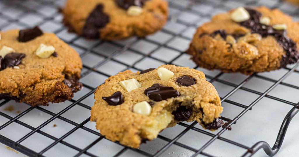 choc zero monster cookies on cooling rack