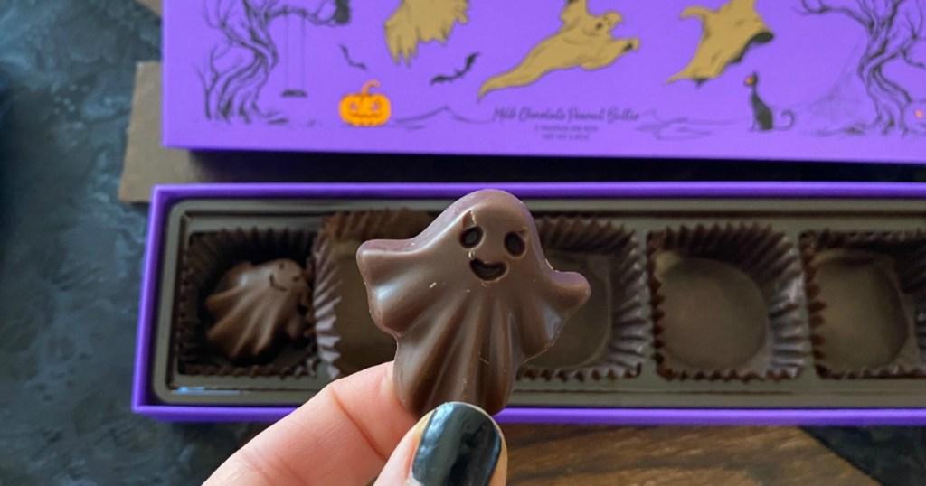 holding keto chocolate ghost