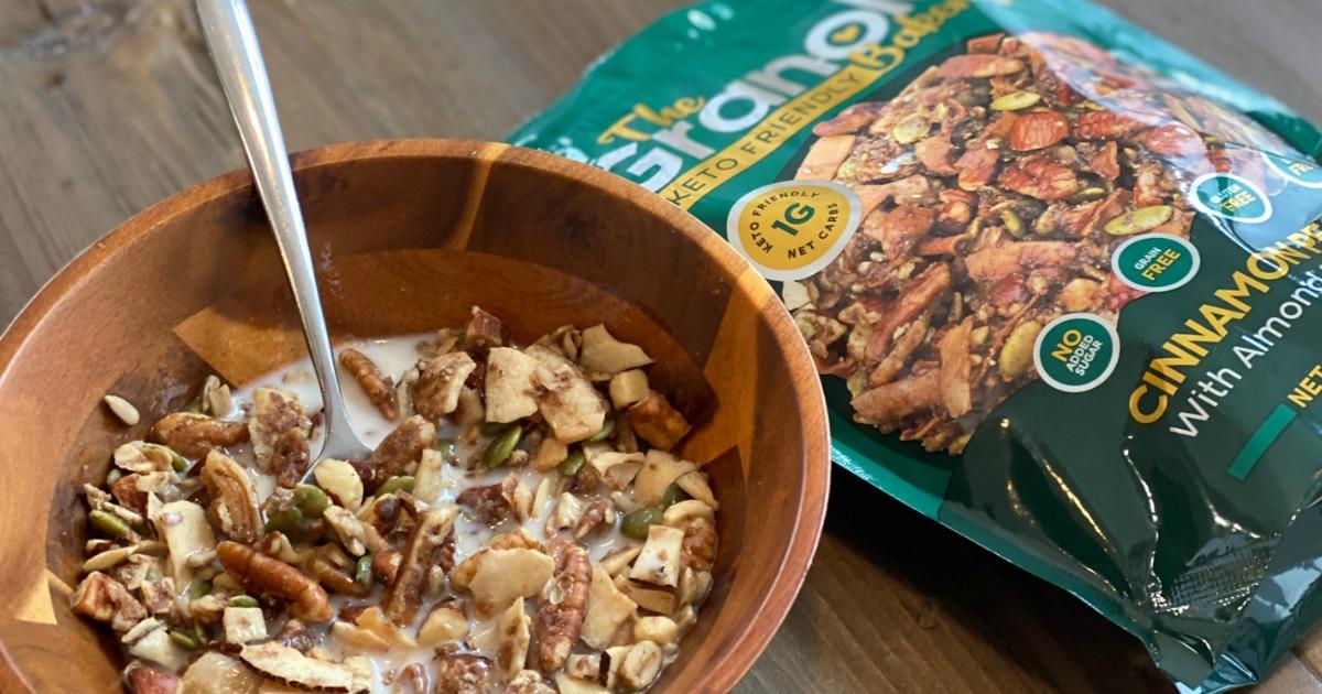 bowl of keto granola with milk