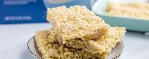 stack of keto rice krispie treats on plate