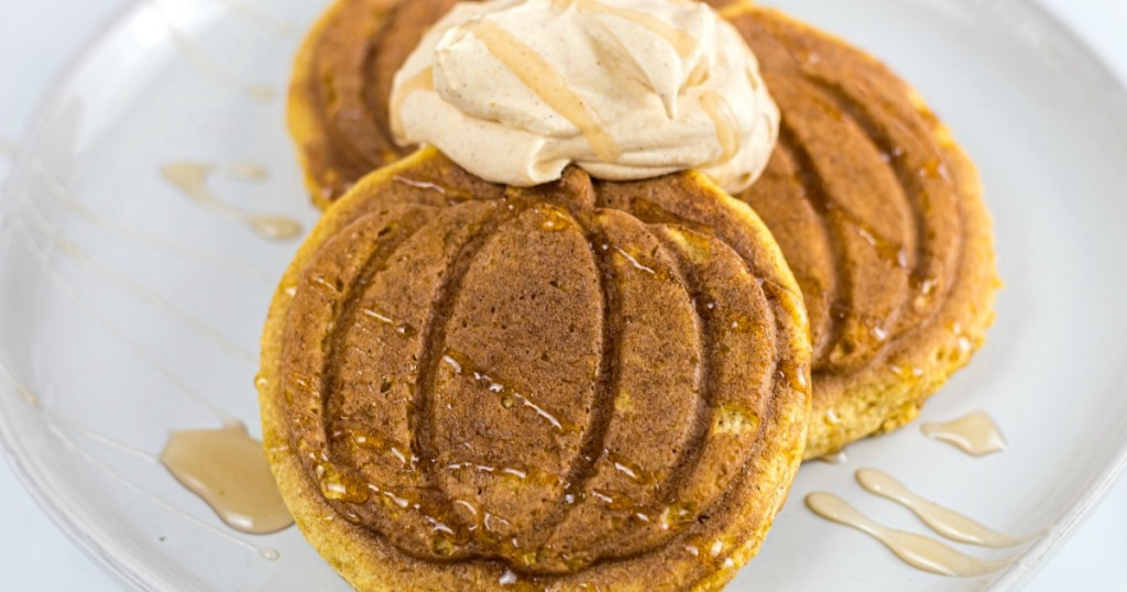 pumpkin chaffle with whipped cream and syrup
