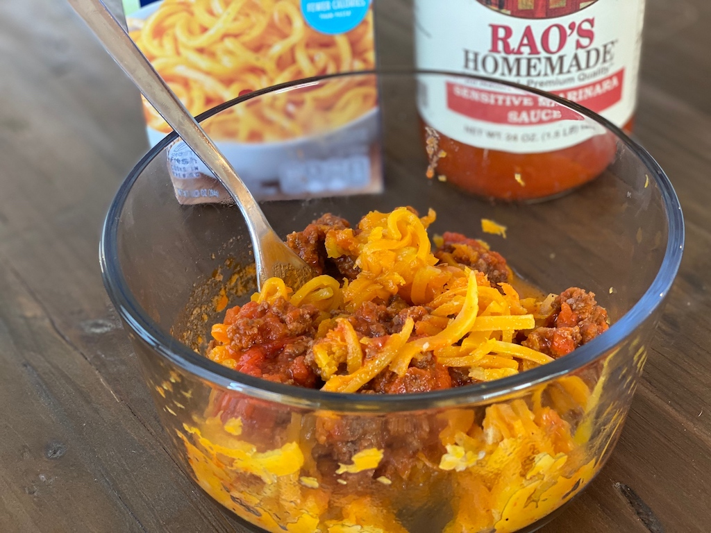 butternut squash noodles in bowl with meat sauce