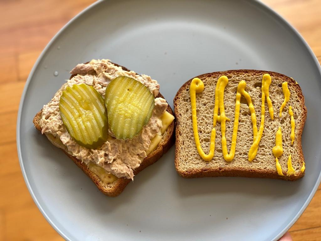 tuna sandwich with ALDI keto bread