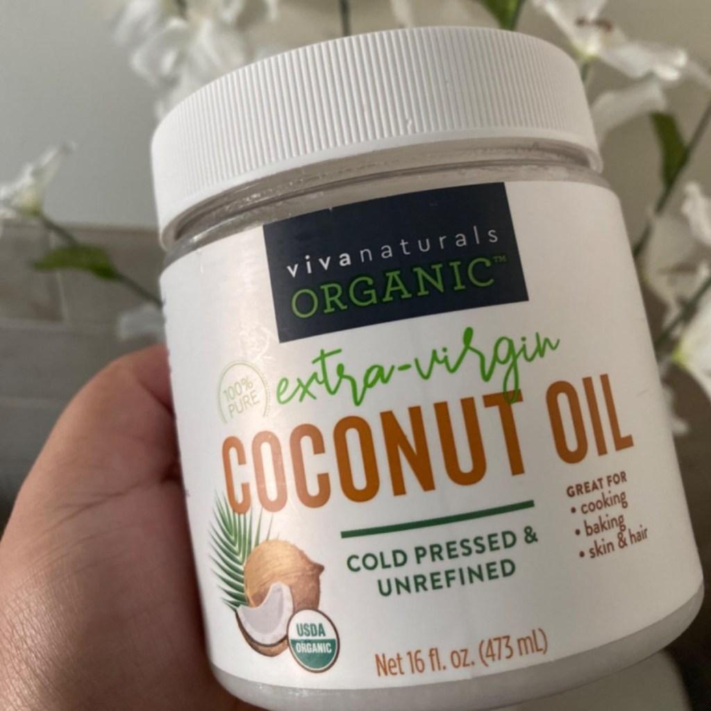 holding Viva Coconut Oil