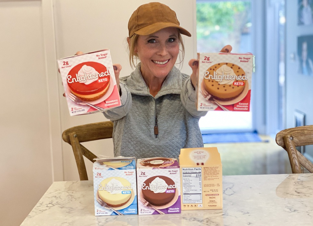 woman holding keto enlightened cheesecakes
