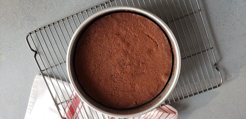 cake on cooling rack