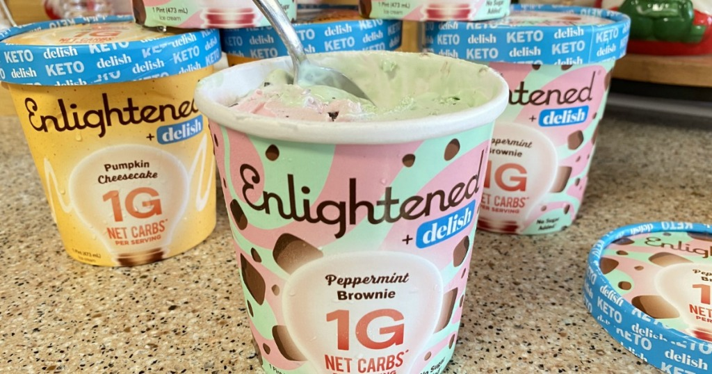 pint of Enlightened keto peppermint brownie ice cream