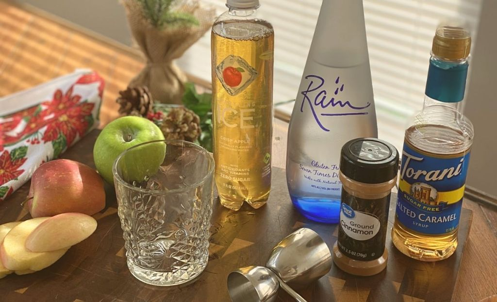 Cocktail ingredients on a bar