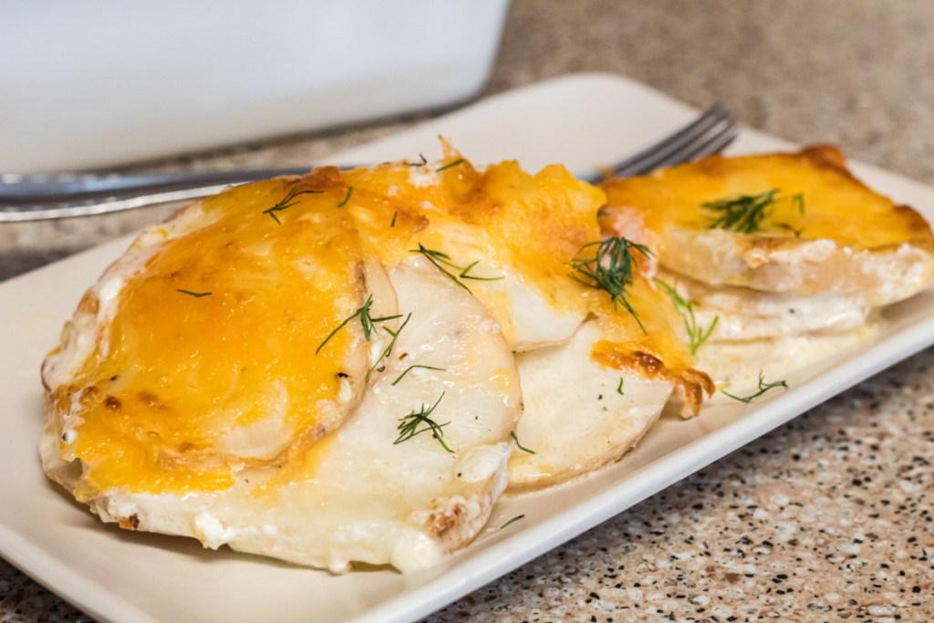 side dish of keto scalloped potatoe