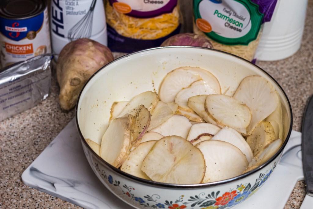 bowl of sliced turnips