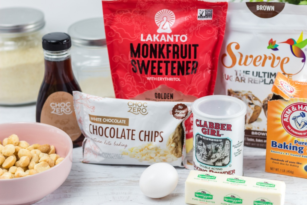 ingredients for Keto White Chocolate macadamia nut cookie