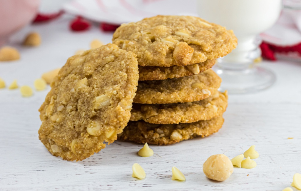 Keto White Chocolate macadamia nut cookies on table