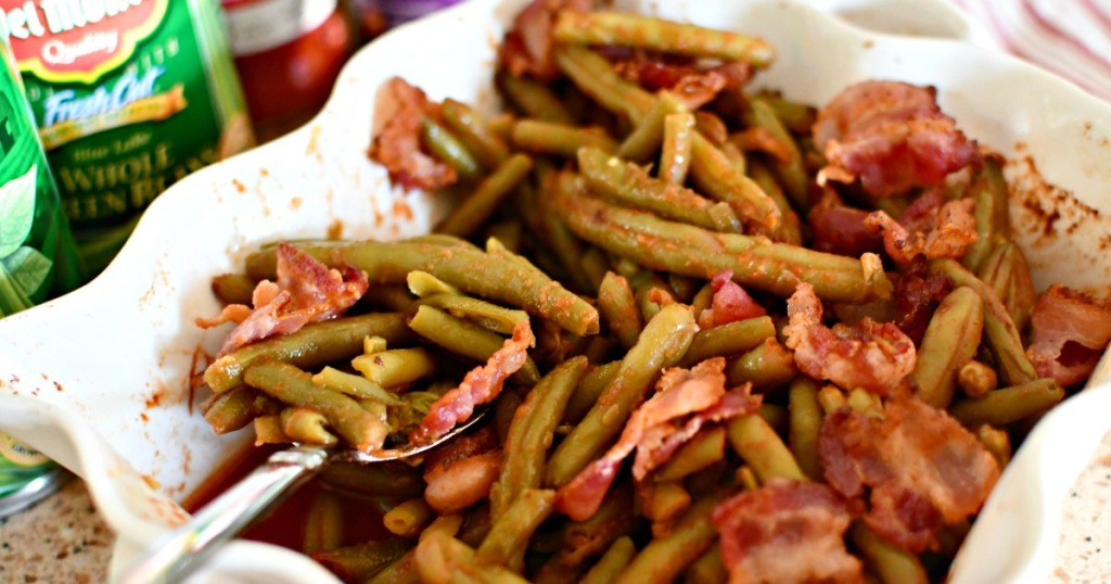 casserole dish with keto bacon green beans