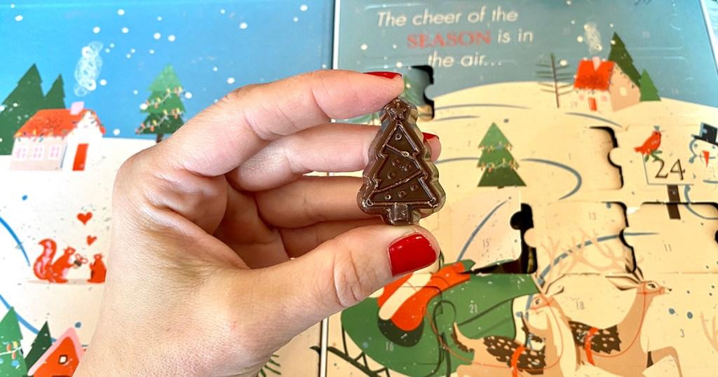 hand holding choczero chocolate form advent calendar