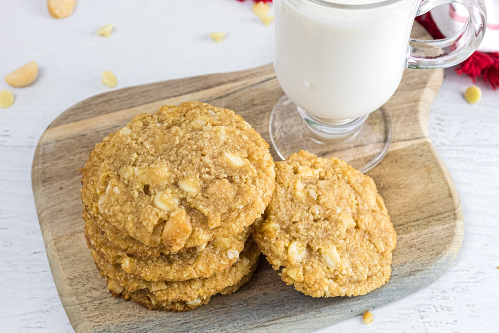 keto white chocolate macadamia nut cookies on cutting board